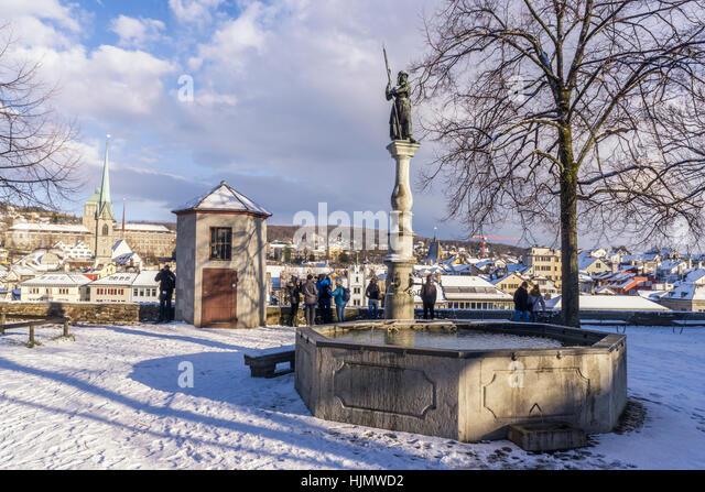 Lindenhof ,winter, snow, Zurich, Zuerich, Switzerland - Stock Image