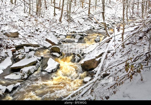 Grindstone Creek in winter, Bruce Trail, Niagara Escarpment, Hamilton, Ontario, Canada - Stock Image
