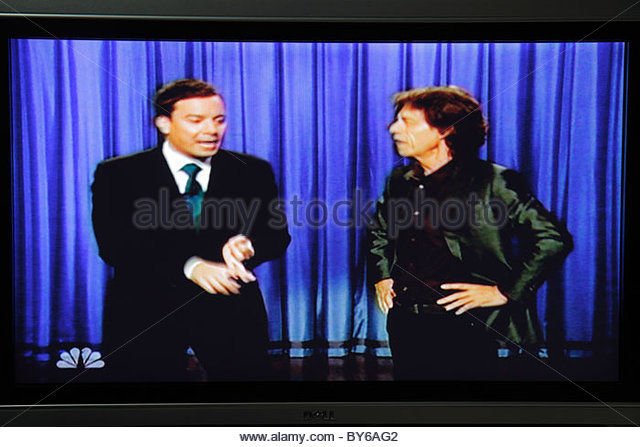 Miami Beach Florida television TV flat panel screen monitor cable channel NBC Late Night Show Jimmy Fallon Mick - Stock Image