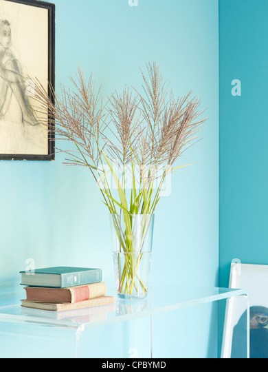 Vase of miscanthus on lucite table. - Stock Image