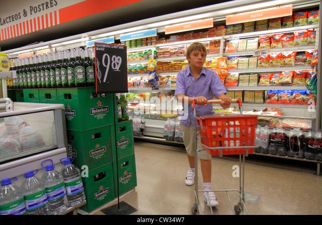 Buenos Aires Argentina Avenida Callao Disco Supermarket grocery store supermarket chain shopping refrigerator deli - Stock Image