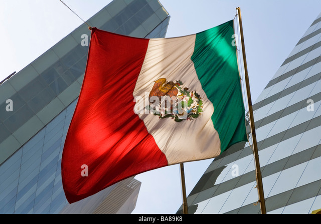 Mexican flag financial district Mexico - Stock Image