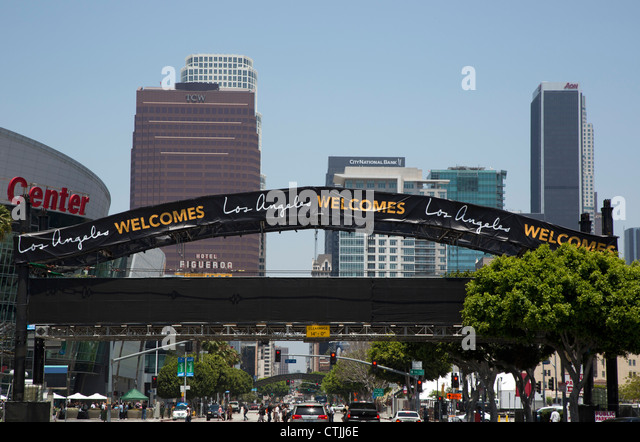 Los Angeles, California - A welcome sign spans Figueroa Street in downtown Los Angeles. - Stock Image