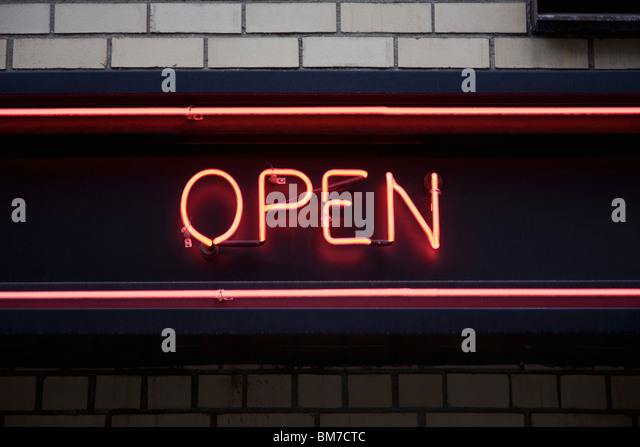 OPEN neon sign - Stock Image