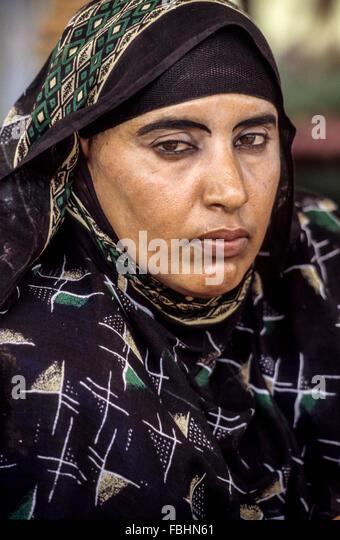 Oman.  Woman from Masirah  Wearing Headscarf. - Stock Image