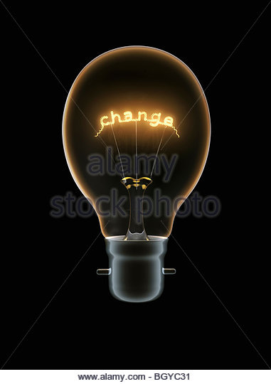 "Light bulb with text ""change"" - Stock Image"