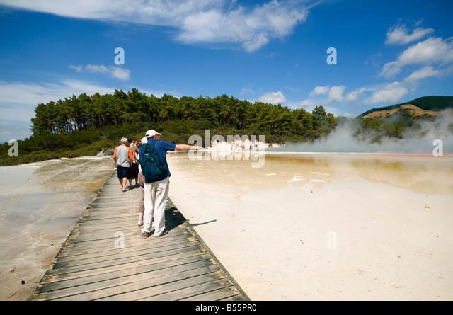 Boardwalk over the Silica Terrace at the Wai-O-Tapu thermal area, near Rotorua, North Island, New Zealand - Stock Image