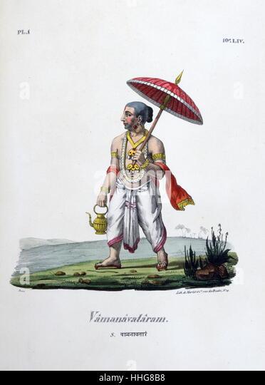 Hindu myth of Dasavataram or Vamanavataram in the form of a dwarf. Lord Vishnu as appeared as Vamanavataram - Stock Image