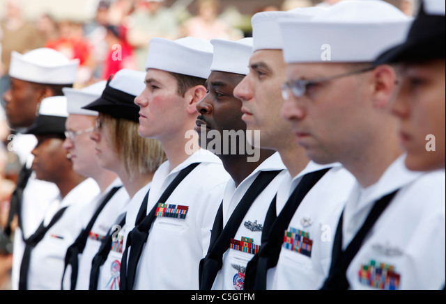U.S. Navy sailors in formation - Stock Image