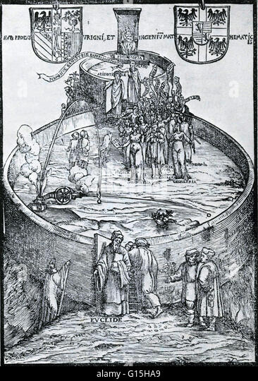 Frontispiece to Niccolo Tartaglia, 'Nova Scientia' (New Science), a treatise on gunnery, is an important - Stock Image