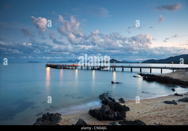 Jetty at Palm Cove at dusk, near Cairns, Queensland, Australia - Stock Image