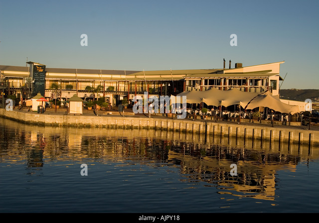 south africa garden route Knysna harbor restaurants - Stock Image