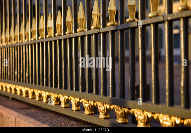 Sunlit railings Presidential Palace, Helsinki Finland - Stock Image