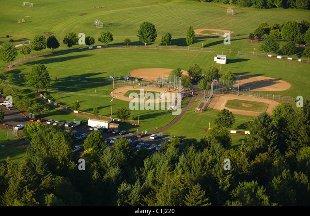 Aerial view of park with baseball fields - Stock Image