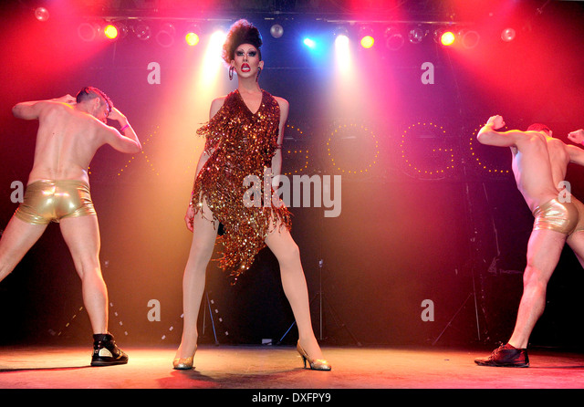 Drag performer Nikki Chin performs at AX-A-GOGO, a gay asian theme party, held at Phoenix Concert Theatre in Toronto - Stock-Bilder