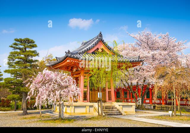 Buddhist Temple bell house during spring season at Sanjusangendo Shrine, Kyoto, Japan. - Stock Image
