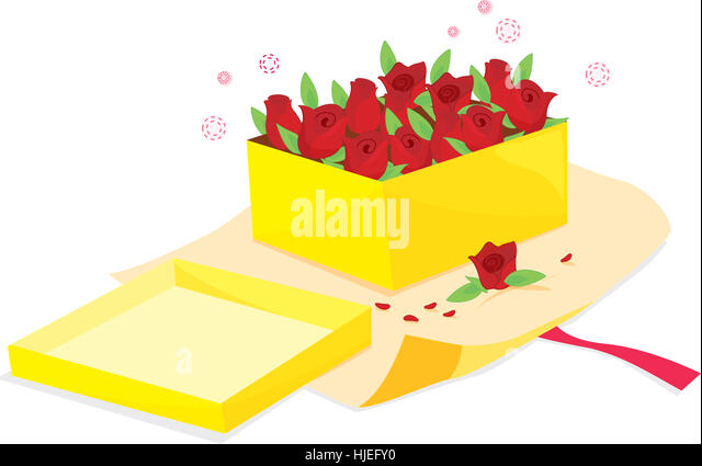 cartoon illustration of a box of roses - Stock Image