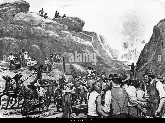 1860s 1869 CHINESE AND IRISH WORKERS LAYING LAST MILE TRACK TRANSCONTINENTAL RAILROAD UNION PACIFIC - Stock-Bilder
