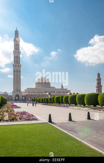 Vertical view of Sultan Qaboos Grand mosque, Muscat, Oman - Stock Image