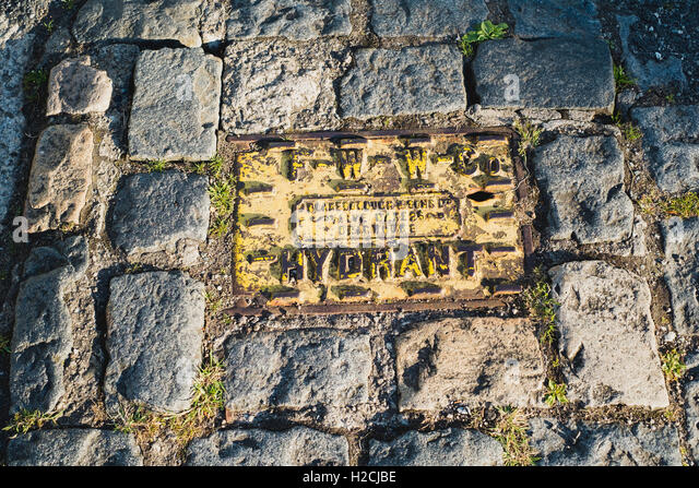 Hydrant in a cobbled footpath - Stock Image