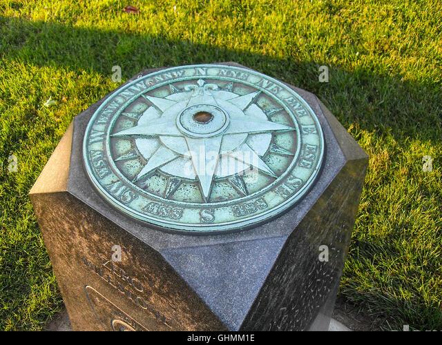 Oxidized Copper Compass - Stock Image