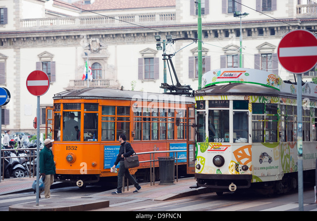 City tram, Milan, Lombardy, Italy - Stock Image