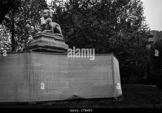 Milan, Italy. Sphinx statue in a public park - Stock Image