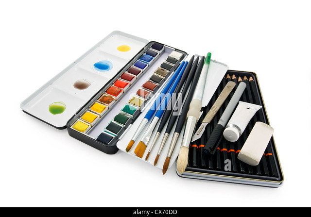 Arstists watercolor paint brushes, paints and equipment - Stock-Bilder