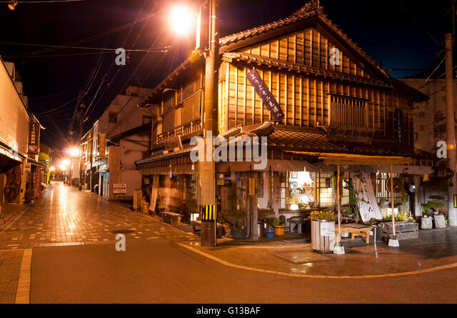 Streets of village Futamigaura  with traditional japanese wooden houses, Japan - Stock Image