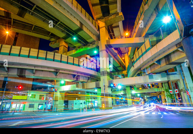 Tokyo, Japan cityscape and expressway junction. - Stock Image