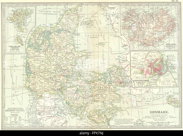 DENMARK: & Iceland: Copenhagen, 1903 antique map - Stock Image