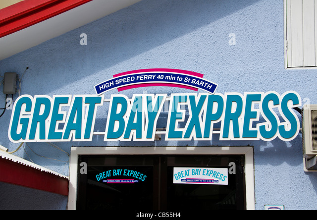St Maarten Philipsburg Great Bay Express sign ferry to St Barts - Stock Image