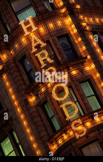 Harrods sign, Knightsbridge, London, England, United Kingdom, Europe - Stock Image