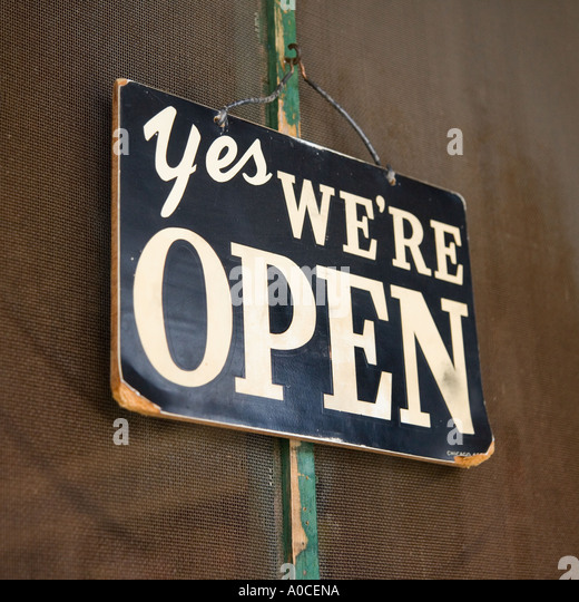 Closeup of open sign - Stock Image