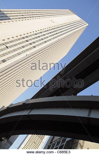 Japan Tokyo Ikebukuro Sunshine City 60 Building skyscraper Metropolitan Expressway No. 5 Ikebukuro Route highway - Stock Image