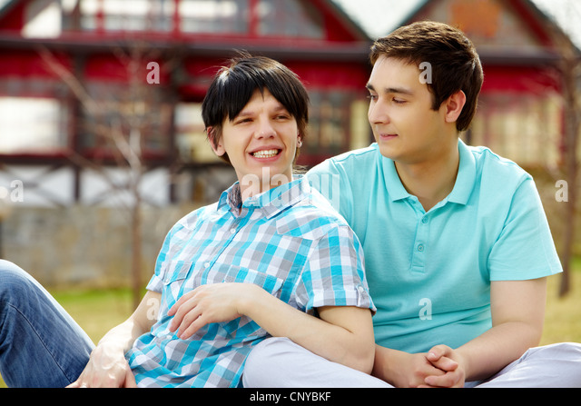 Homosexual couple having good time on a warm summer day - Stock-Bilder
