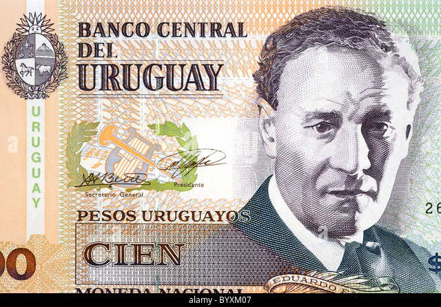 Uruguay 100 One Hundred Cien Peso Bank Note. - Stock Image