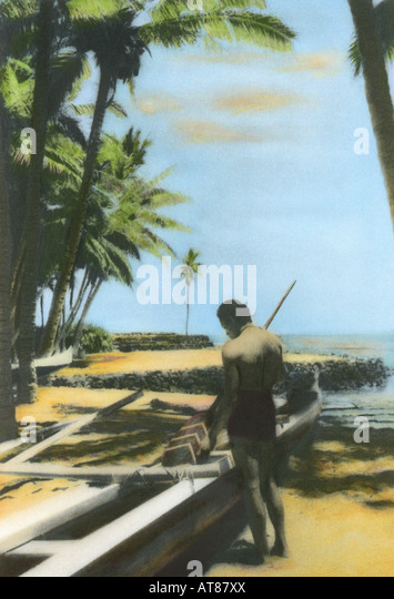 C Lion Outrigger Canoe Handtinted Stock Photo...