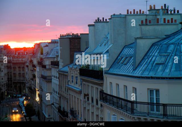 Paris France Europe French 9th arrondissement Rue la Bruyere street aerial sunset Haussmann apartment buildings - Stock Image