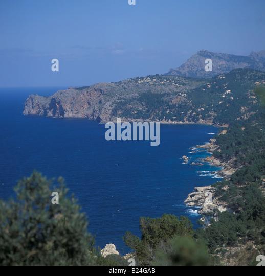 Coastal scene near Deia formerly Deya West Coast Mallorca Balearic Islands Spain 16th March 2003 - Stock Image