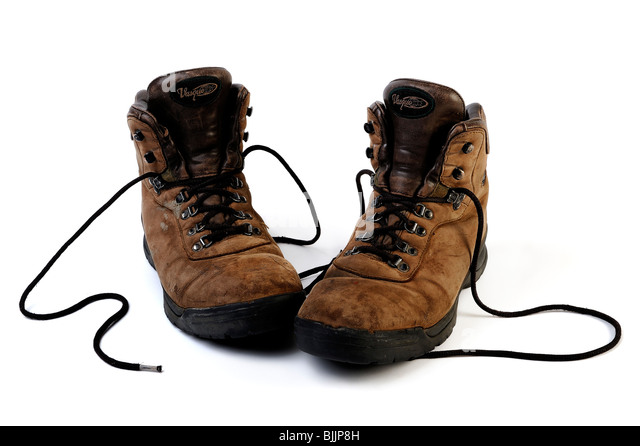 Well worn set of Vasque work boots - Stock Image