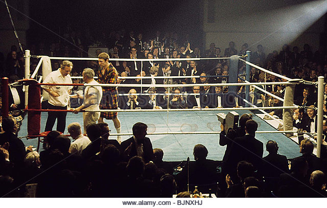 29/01/73 BRITISH LIGHTWEIGHT CHAMPIONSHIP JIM WATT v KEN BUCHANAN ALBANY HOTEL - GLASGOW Ken Buchanan heads for - Stock Image
