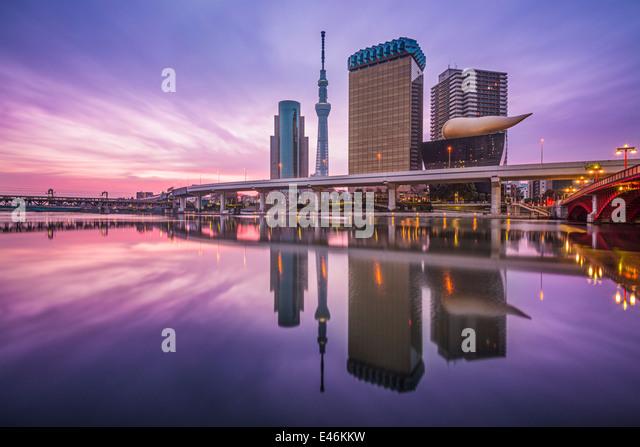 Tokyo, Japan skyline on the Sumida River. - Stock Image