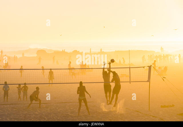 Beach Volleyball, Camps Bay Beach, Cape Town, South Africa - Stock Image