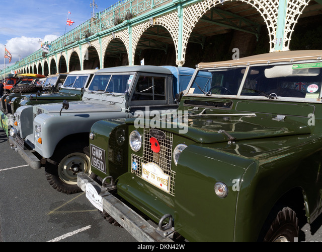 Land Rovers from the London to Brighton run 2013 in Madeira Drive, Brighton - Stock Image