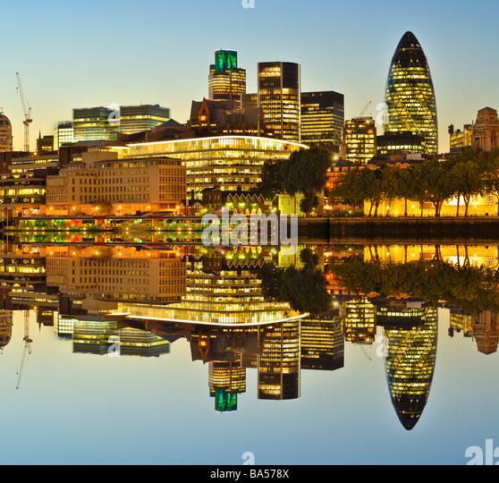City of London Skyline at night - Stock Image