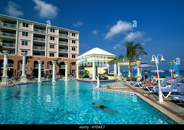 Bahamas Nassau Cable Beach Sandals Royal Bahamian swimming pool - Stock Image