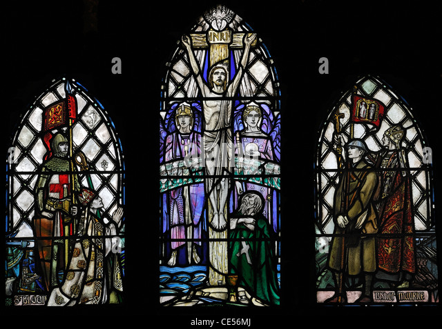 Stained glass window commemorating the First Great War (1914-18), Dunblane Cathedral, Scotland - Stock Image