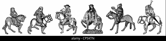 figures on horseback after the Ellesmere Manuscript, 15th century, from Geoffrey Chaucer's Canterbury Tales - Stock Image
