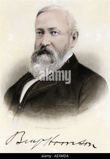 President Benjamin Harrison with autograph - Stock Image